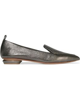Beya Metallic Textured-leather Point-toe Flats