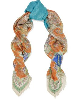 Paisley-print Metallic Modal And Silk-blend Scarf