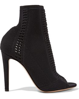 Vires Peep-toe Perforated Stretch-knit Ankle Boots