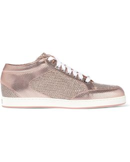Miami Glittered Mesh And Embossed Leather Sneakers