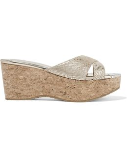 Prima Metallic Snake-effect Suede And Cork Wedge Sandals