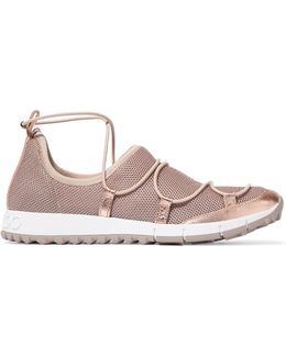 Andrea Metallic Leather-trimmed Mesh Slip-on Sneakers