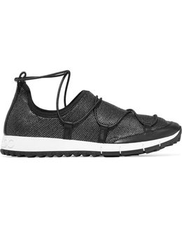 Andrea Leather-trimmed Metallic Mesh Slip-on Sneakers