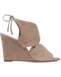 Iman Cutout Suede Wedge Sandals