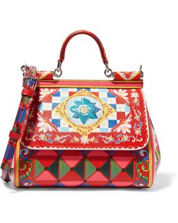 Sicily Medium Printed Textured-leather Shoulder Bag