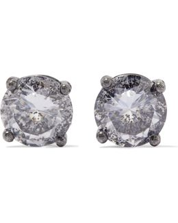 Oxidized Silver Cubic Zirconia Earrings