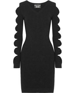 Cutout Bow-detailed Stretch-knit Mini Dress