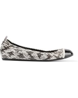 Patent Leather-trimmed Elaphe Ballet Flats
