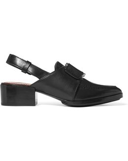 Quinn Buckled Leather Slingback Loafers
