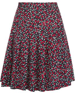 Anais Pleated Silk-jacquard Skirt