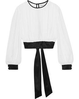 Dakota Cropped Georgette And Stretch-silk Satin Top