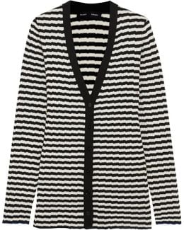 Striped Ribbed Silk And Cashmere-blend Cardigan