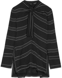 Knotted Tie-front Striped Crepe Top