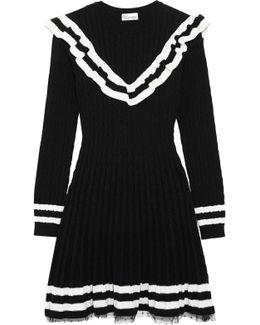 Point D'esprit-trimmed Ruffled Cable-knit Cotton Mini Dress