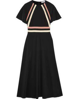 Striped Silk Crepe De Chine Midi Dress
