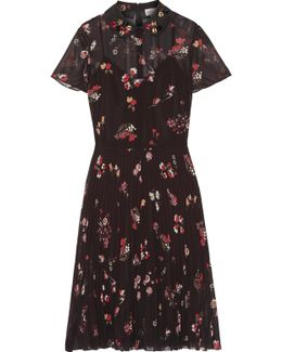 Embellished Floral-print Chiffon Dress