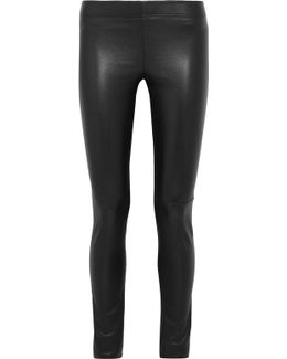 Leather-paneled Stretch-jersey Leggings