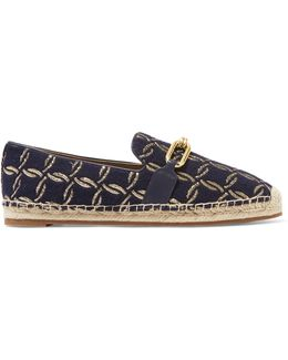 Lennox Leather-trimmed Jacquard Espadrilles