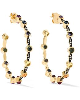 Mandorla Creole 18-karat Gold Multi-stone Hoop Earrings