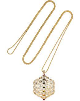 Chakra Amulet 18-karat Gold Multi-stone Necklace