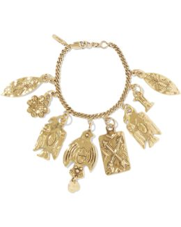 Hammered Gold-tone Charm Bracelet
