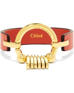 Leather And Gold-tone Bracelet