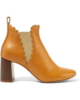 Scalloped Leather Ankle Boots