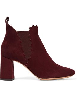Scalloped Suede Ankle Boots