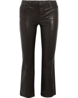 Selena Cropped Stretch-leather Flared Pants