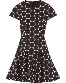 Polka-dot Cotton And Silk-blend Matelassé Mini Dress