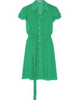 Polka-dot Silk-georgette Mini Dress
