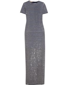 Striped Sequined Silk Maxi Dress
