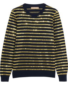 Striped Sequined Cashmere Sweater