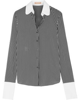 Poplin-trimmed Striped Silk Crepe De Chine Shirt