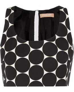 Cropped Polka-dot Cotton And Silk-blend Matelassé Top