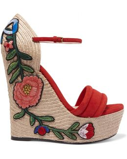 Appliquéd Suede Wedge Espadrille Sandals