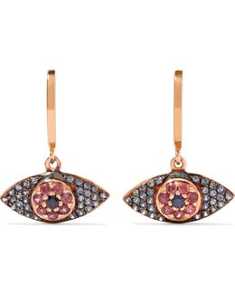 Open Eye 18-karat Rose Gold, Sapphire And Rhodolite Earrings