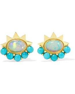18-karat Gold, Turquoise And Opal Earrings