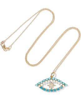 Shiny Star Eye 18-karat Gold Multi-stone Necklace
