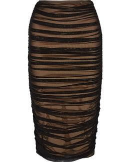 Ruched Stretch-tulle Skirt