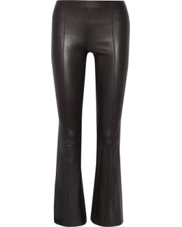Beca Cropped Stretch-leather Flared Pants