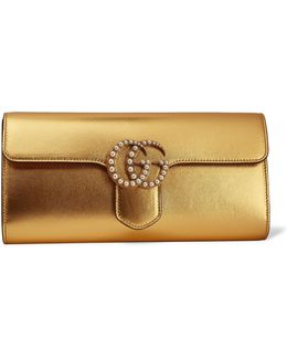 Gg Marmont Faux Pearl-embellished Metallic Leather Clutch