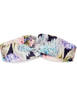 Twisted Floral-print Silk-satin Headband