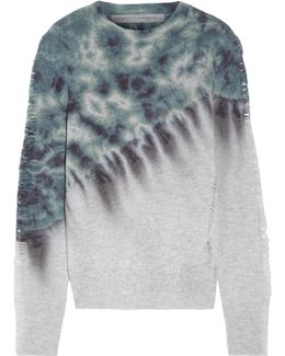 Distressed Tie-dyed Merino Wool And Cashmere-blend Sweater