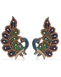 Gold-tone, Crystal And Satin Clip Earrings