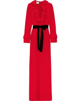Velvet-trimmed Ruffled Stretch-crepe Gown