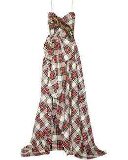 Embellished Plaid Wool Gown