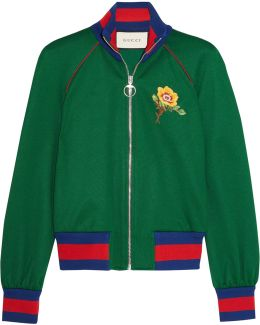 Green Embroidered Track Jacket