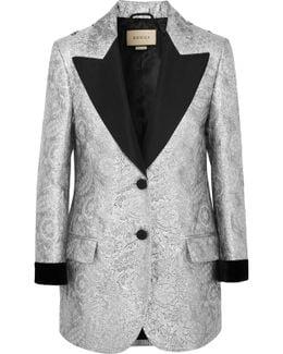 Velvet-trimmed Embellished Metallic Brocade Blazer