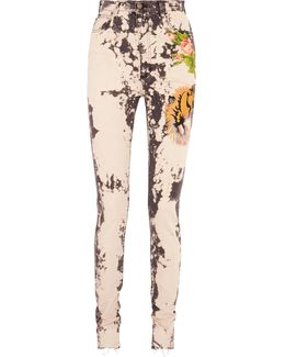 Appliquéd Bleached High-rise Skinny Jeans